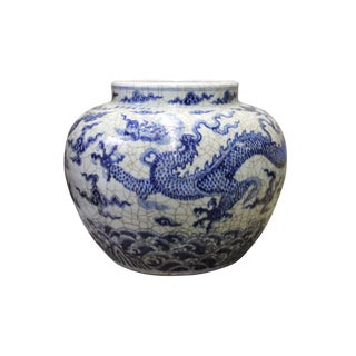 Chinese Blue Off White Crackle Porcelain Scenery Dragon Accent Vase