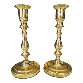 1990s American Classical Baldwin Brass Candlesticks - a Pair For Sale
