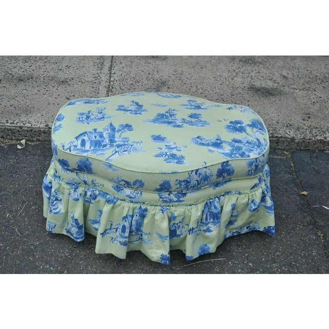 Wood Drexel Heritage Vera Bradley Rolled Arm French Country Club Chair & Ottoman For Sale - Image 7 of 13