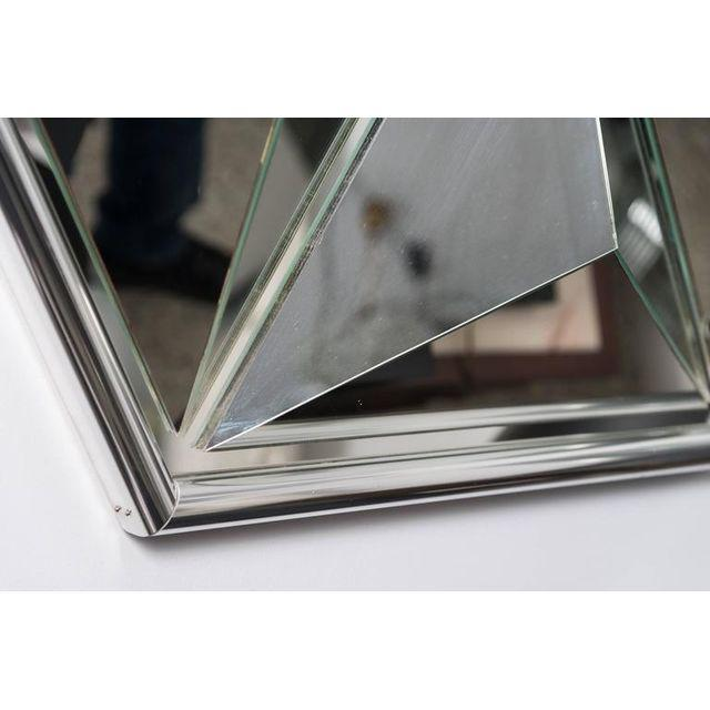 Mid-Century Modern Polished Chrome Polygon Shaped Wall Mirror For Sale - Image 3 of 10