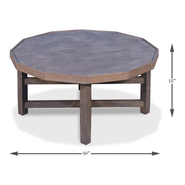 Transitional Sarreid Decagon Coffee Table, Grey Wash Finish For Sale - Image 3 of 6