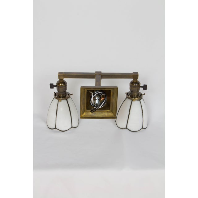1910 Arts and Crafts Sconces With White Slag Glass Shades - a Pair For Sale In Boston - Image 6 of 7