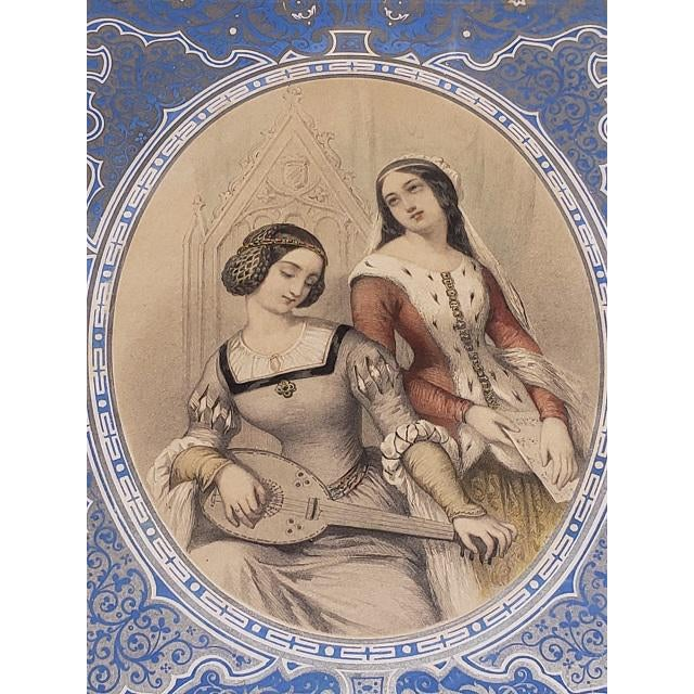 """French Provincial Pair of Early 19th Century """"Charm"""" Framed Color Lithographs C.1832 For Sale - Image 3 of 8"""