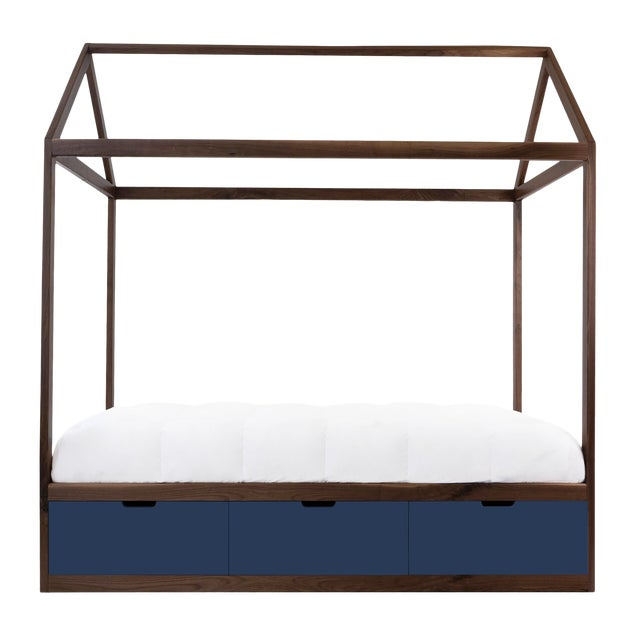 Domo Zen Twin Canopy Bed in Walnut With Deep Blue Finish Drawers For Sale