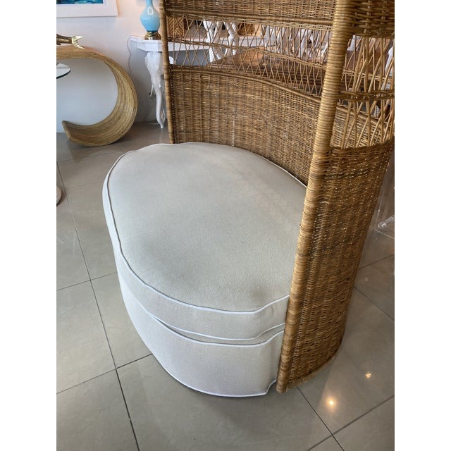 Vintage Wicker and Rattan Newly Upholstered Dome Hooded Loveseat Settee Chair For Sale - Image 12 of 13
