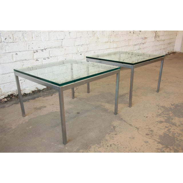 Florence Knoll Chrome & Glass Side Tables - a Pair - Image 4 of 7