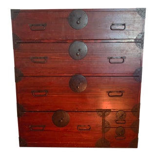 Antique Oxblood Red Japanese Tansu Chest of Drawers For Sale