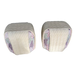 Vintage Preview Beige Upholstered Ottomans - a Pair For Sale