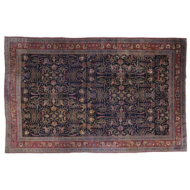 Blue Antique Persian Mashhad Rug with Traditional Modern Style For Sale - Image 8 of 9
