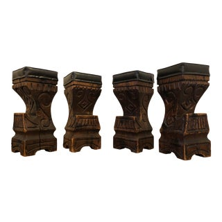 Witco Carved Wood Tiki Bar Stools - Set of 4 For Sale