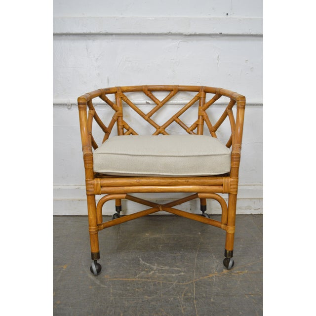 *STORE ITEM #: 17184-fwmr McGuire Style Pair of Rattan Bamboo Barrel Back Club Chairs AGE / ORIGIN: Approx. 35 years,...
