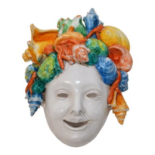 Late 20th Century Vintage Art Nouveau Ceramic Face Mask Wall Hanging For Sale