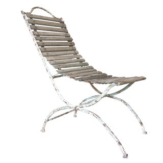 19th Century French Iron and Wood Garden Chaise For Sale