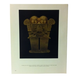 """Circa 1960 """"Stylized Cast Gold Pendant - Darlen Style"""" Treasures of Ancient America Mounted Print For Sale"""