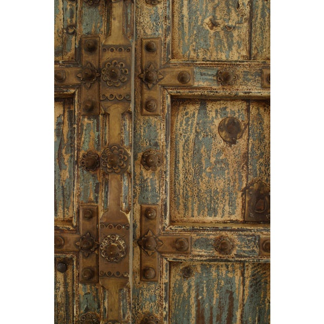 Late 18th Century Asian Blue & White Distressed Painted and Carved Pair of Doors in a Frame For Sale - Image 5 of 8