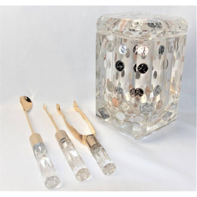 1970s Vintage Alessandro Albrizzi Faceted Lucite Swivel Top Ice Bucket Set- 4 Pieces For Sale - Image 9 of 9