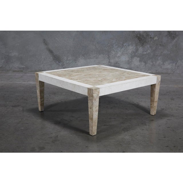 1990s Postmodern Dual Color Tessellated Stone Cube Square Coffee Table For Sale - Image 12 of 13