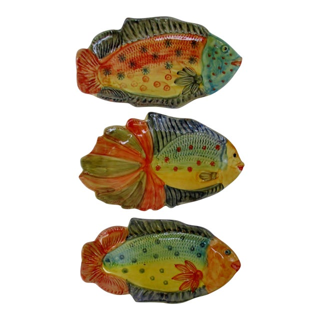 Italian Hanging Fish Plates, Set of 3 For Sale