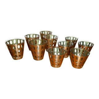 Culver Mid Century 22 Kt Cocktail Glasses - Set of 10