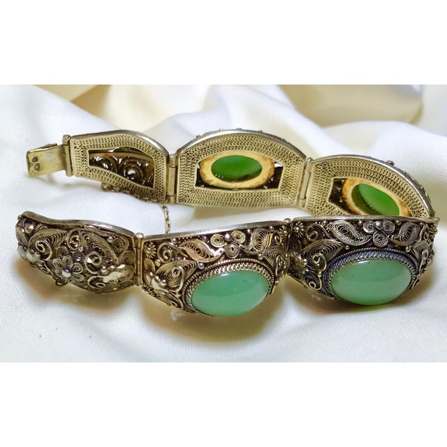 Mid-Century Chinese Gilt Sterling and Jade Bracelet For Sale In Los Angeles - Image 6 of 8