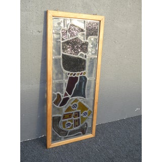 Vintage Medieval Stained Glass Wall Hanging Art Preview