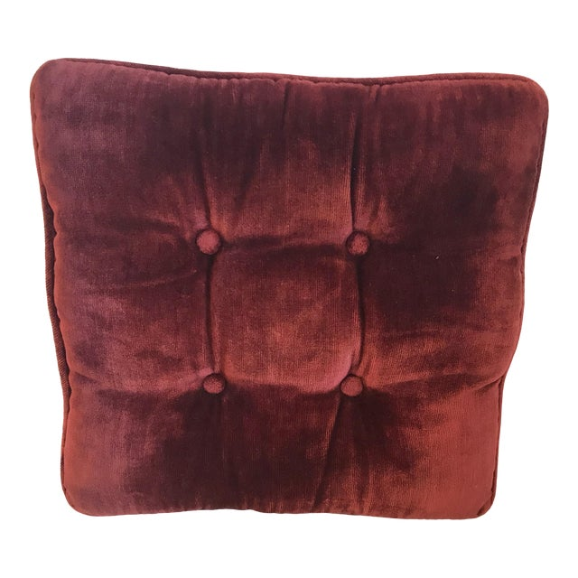 Vintage Mid-Century Red Velvet Square Tufted Pillow For Sale