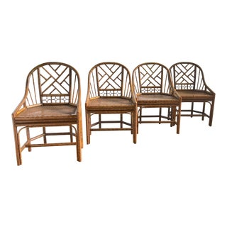 1960s Chippendale Rattan Dining Chairs - Set of 4