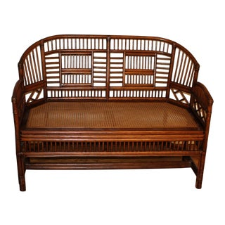Vintage Mid Century Bamboo Rattan Pavilion Brighton Chinoiserie Chippendale Settee For Sale