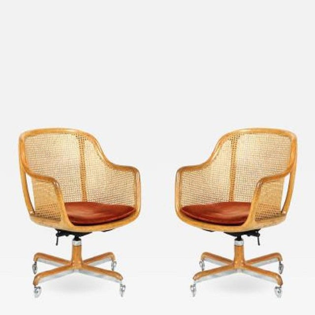 Pair of Ward Bennett Cane Swivel Chair For Sale In New York - Image 6 of 6