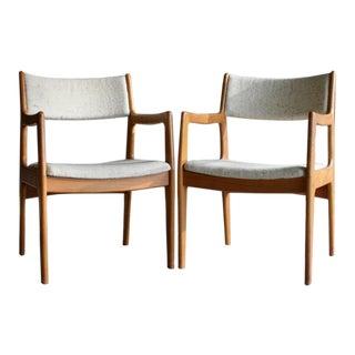 Teak Danish Modern Arm Chairs, a Pair