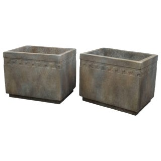 Rectangular Cement Planter With Greek Key Design For Sale