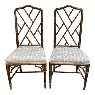 Asian Influenced Faux Chippendale Chairs - a Pair For Sale
