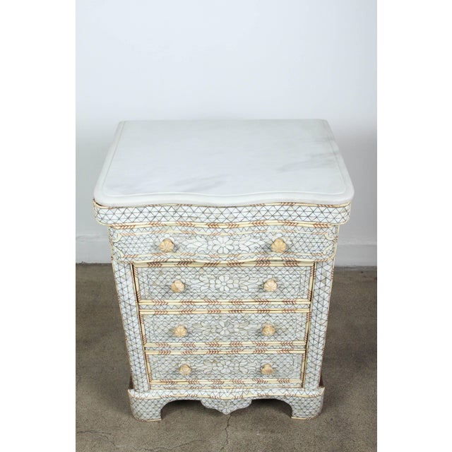 Wood Pair of Mother-Of-Pearl Inlay Syrian Nightstands For Sale - Image 7 of 11