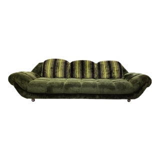1970's Adrian Pearsall Style Gondola Green Upholstered Shag Sofa For Sale