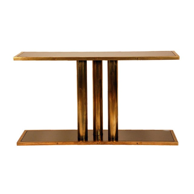 """The """"Calandre"""" Brass and Bronze Mirrored Console For Sale - Image 9 of 9"""