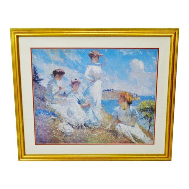 Vintage Framed Frank Weston Benson Summer Seascape Print For Sale