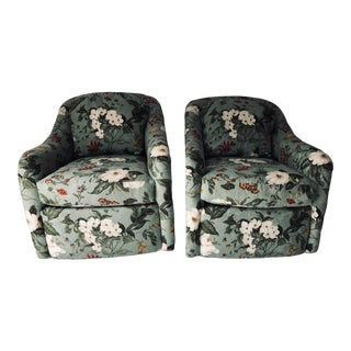 Pennsylvania House Floral Swivel Club Chairs (2) Excellent For Sale