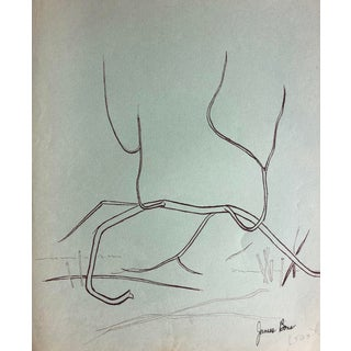 Mid-Century Abstract Drawing by James Bone, 1950s on Green Paper For Sale