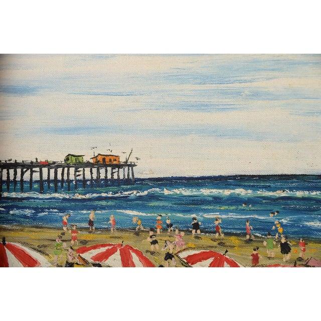 Santa Monica Pier Beach Scene 1950s Oil Painting - Image 6 of 10