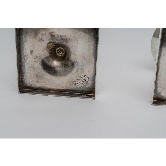 Metal Silver Plated Candlesticks by Tommy Parzinger - a Pair For Sale - Image 7 of 13