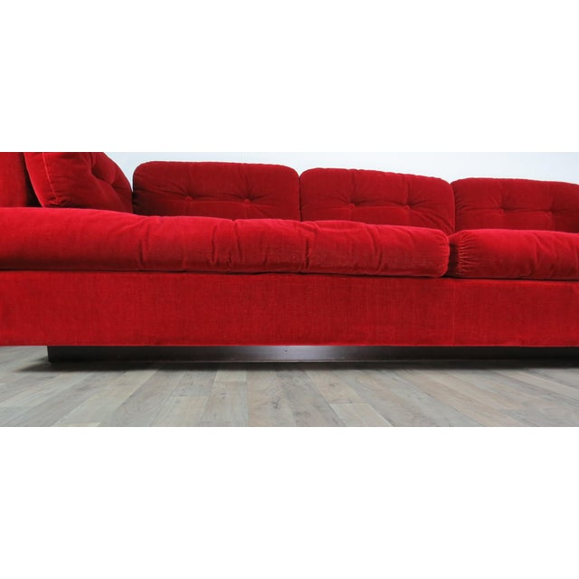 """1960s Mid-Century Modern Lipstick Red Button-Tufted """"Cord"""" Velvet Sofa For Sale - Image 10 of 13"""