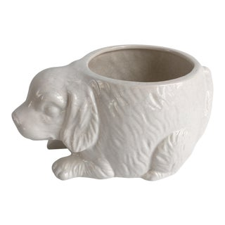 Vintage Hollywood Regency Style Ceramic Dog Planter