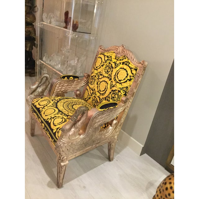 1960s 1960s Vintage Gianni Versace Black Gold Upholstery Throne Swan Chair For Sale - Image 5 of 13