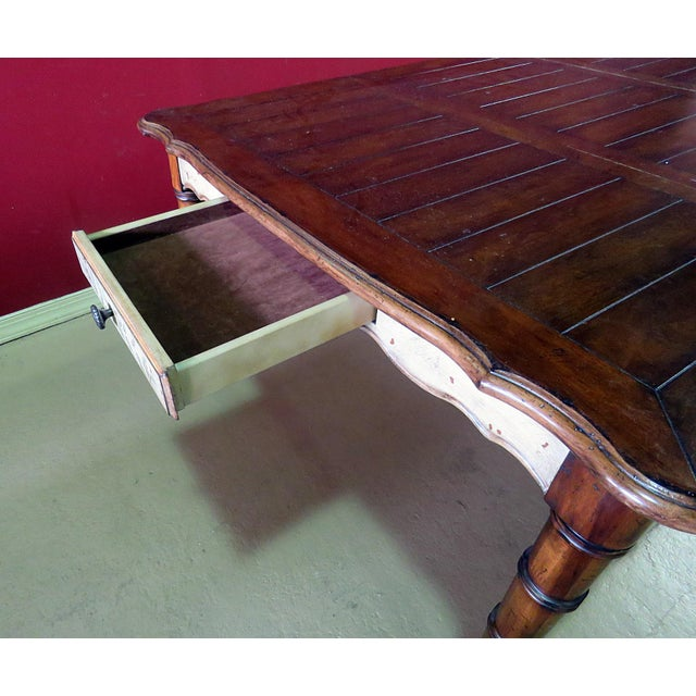 20th Century Chippendale Faux Bamboo Dining Room Table For Sale In Philadelphia - Image 6 of 9