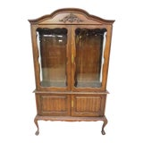 Image of Vintage Queen Anne Glass Front Cabinet With Cabriole Legs For Sale