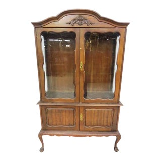 Vintage Queen Anne Glass Front Cabinet With Cabriole Legs For Sale