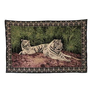 Vintage Turkish Printed White Tiger Tapestry For Sale