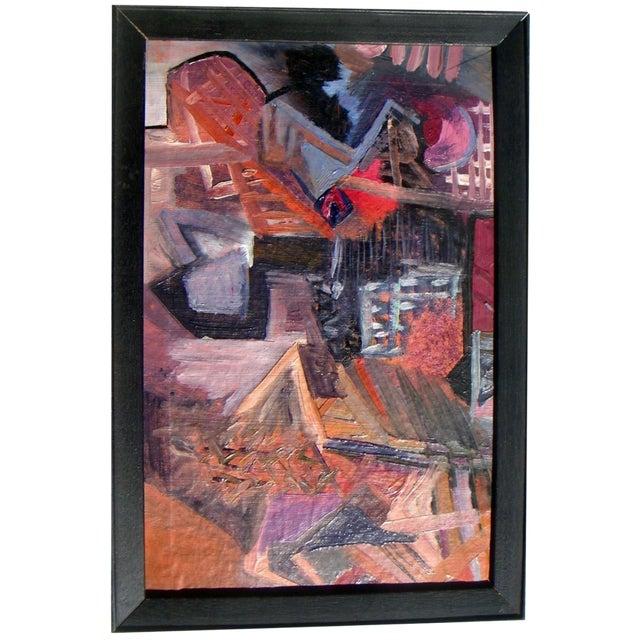 European Cubist Village Painting - Image 1 of 4