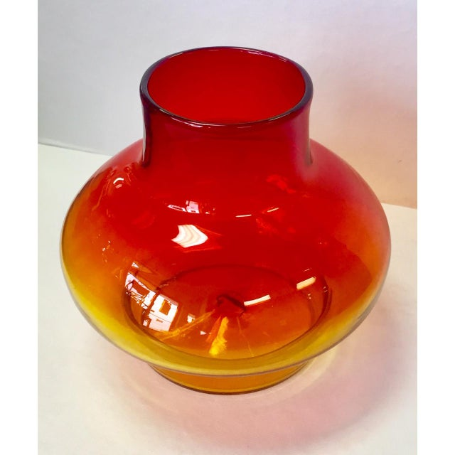 Modern 1970s Vintage Blenko Americana Obré Glass Vase For Sale - Image 3 of 9