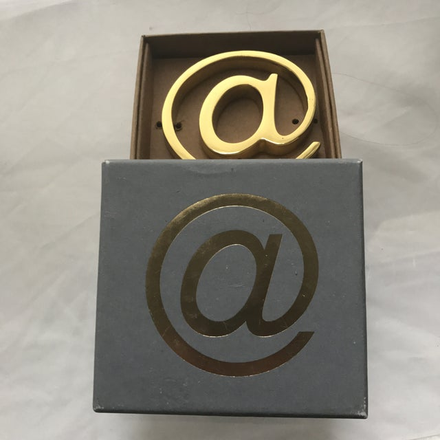 Brass Solid Brass At Sign Paperweight For Sale - Image 7 of 7
